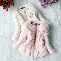 3-6 years baby 3 sizes winter/autumn Korean style girl&#39;s thickening jacket/coat(beige, pink), cheap garment for kid girl(China (Mainland))