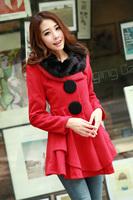 2013-2014 autumn and winter rabbit fur big skirt woolen outerwear medium-long cashmere woolen overcoat female