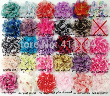 "NEW 3.75"" chiffon lace flower 120PCS (70 colors for selcetion) free shipping"