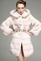 Women Real Rex Rabbit Fur Coat jacket With Mink Fur Hoody Female Winter coat fur women's Outerwear Free Shipping  QD23541