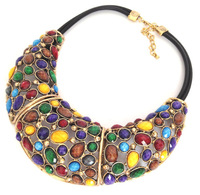 New arrival Luxury Vintage Statement Necklaces with Hi-Q hollow out resins and leather rope, colorful fashion jewelry K88