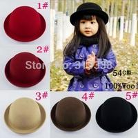 Retail Little girls fedora hat Dome cap Children dress hats Kids caps felt hats wool felting Bowler hat BH176