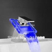 Dreamful 3 colors Beautiful LED Waterfall Bathroom Basin Sink Mixer Tap Glass Chrome Faucet  JN8001-1