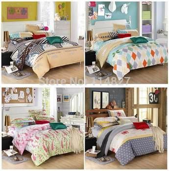 Home textile,Reactive Printed 4Pcs/3Pcs bedding set  include Duvet Cover Bed sheet Pillowcase, King ,Full size