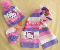 [E-Best] Free Shipping! Hello Kitty scarf +cute hat+gloves 3pcs set ,Sweet striped scarves,Winter wear 3sets/lot E-BH-003
