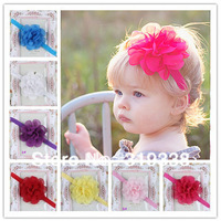 Baby Flower Headband Wedding Headbands Baby girls headwear Flower Girl 8 colors Infant Elastic Band 10pcs HB147