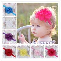 Baby Flower Headband Wedding Headbands Baby girls headwear Flower Girl 8 colors Infant Elastic Band 10pcs HB147