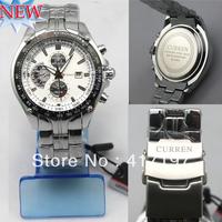 New Men's Fashion CURREN 8083  Luxury Water Resistant Date Style Silver Steel Wrist Watch+Free Shipping