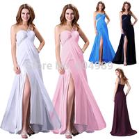 Grace Karin White/Navy/pink/blue/purple Chiffon One shoulder Slit Formal Evening Dress Long Prom Maxi Party Dresses CL3186