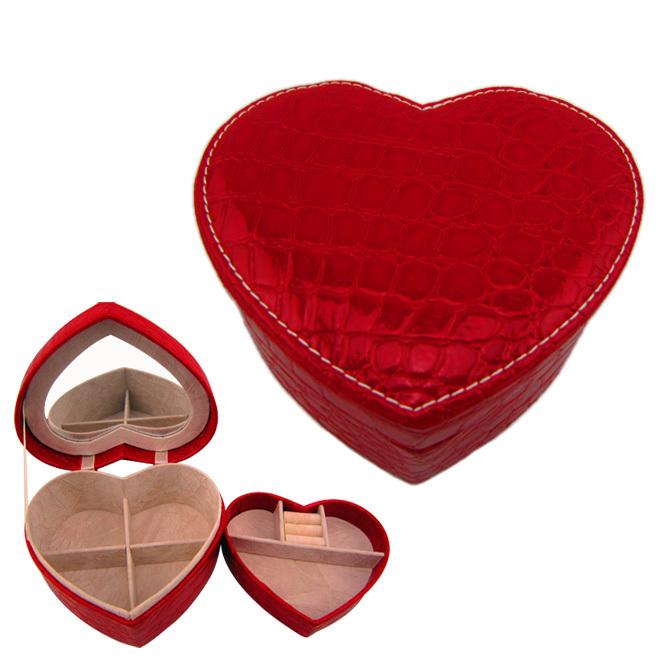 2014 Fashion European South Korea princess Wholesale Valentin's day Heart PU Leather Jewellery Box(China (Mainland))