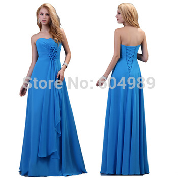 Grace Karin Strapless Blue Evening Dress Long Chiffon Formal Gowns Women Sweetheart Prom Dresses CL3420
