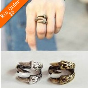 2014 New Fashion Hot Selling New Vintage Bird Claw Finger Texture Ring Lamp Cuff Gothic Punk Ring 66R668 66R669