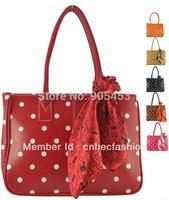 7 Color Free Shipping Women Bag 2014 Sweet Polka Dot Zip Bag PU Leather Ladies Handbags Women's Handbag With Scarf VK1250