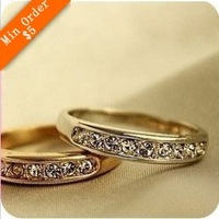 2014 New Fashion Hot-Selling Korean Jewelry Fashion Simple Single Row of Small Imitation Diamond Ring  66R675 66R676