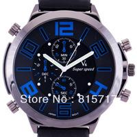 Men's Quartz  V6 Fashion Big Diameter  Small-Dial Decorative Rubber Band Sport Wrist Watch