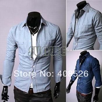 2013 Fashion Casual Denim Button Down Long Sleeve Men's Shirt Dark Blue/Light Blue M,L,XL,XXL Free shipping 9208