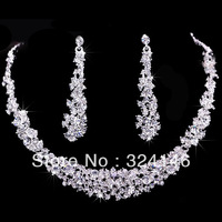 Hot sale Gorgeous crystal bridal jewelry sets rhinestone wedding jewelry sets amazing crystal sets for bride wholesale