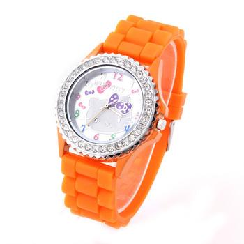 Hot Sale Hello Kitty Quartz Watches Women Rhinestone Wristwatch Analog Silicone Crystal Dial