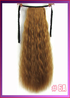 "22""(55cm) 90g kinky curly ribbon ponytail hairpiece hair pieces clip in hair extensions color #6A Light Golden Brown"