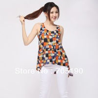 Free shipping Fashion  woman watercolor paint sleeveless Chiffon Blouse O-Neck sleeveless tops shirts