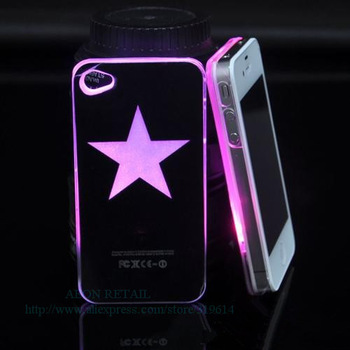 Call Flashing Case for iPhone 4/4S,7 color Led Changing Lighting Hard Cover,Button Battery+Free Shipping