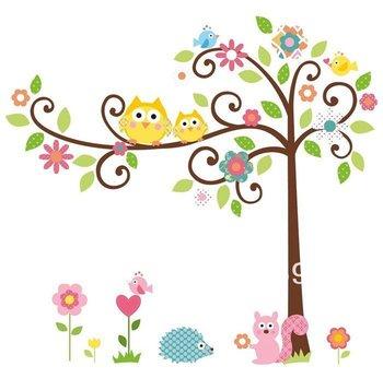 Free Shipping:10Set/Lot Owl Scroll Tree Removable Wall sticker Home Decor/Kids Nursery Cartoon Mural Sticker Wall Decal100*100cm