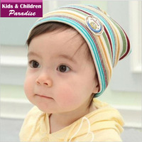 2013 New Year Fashion Baby Lovely Stripe Knitted Cotton Beanie Hat Children Warm Winter Knitting Cap Free Shipping 43009