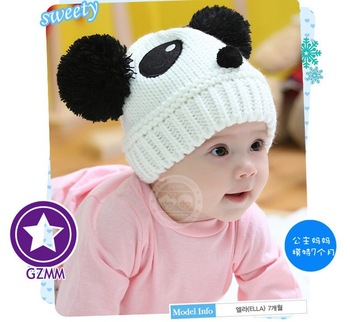 2013 NEW Panda shaped Lovely Boy girl Hats,winter baby hat,Knitted caps children Keep warm hat 8 color gifts