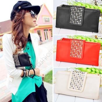 2013 women purse wallet new style fashion handbag women high quality bags black leather metal rivet 29