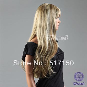 Free Shipping  natural wave long blond women hair wig with a bang kanekalon wig  mix color S678-15TT613