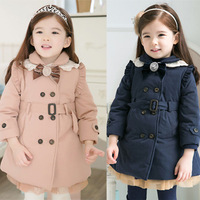 Fashion Korean style casual woolen winter thick gilr kids child bowknot ouwear wind coat clothes Christmas gift