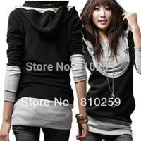 462 2014 women new fashion black gray patchwork long sleeve hooded thin hoodies sweatshirt coat jacket spring autumn t shirts