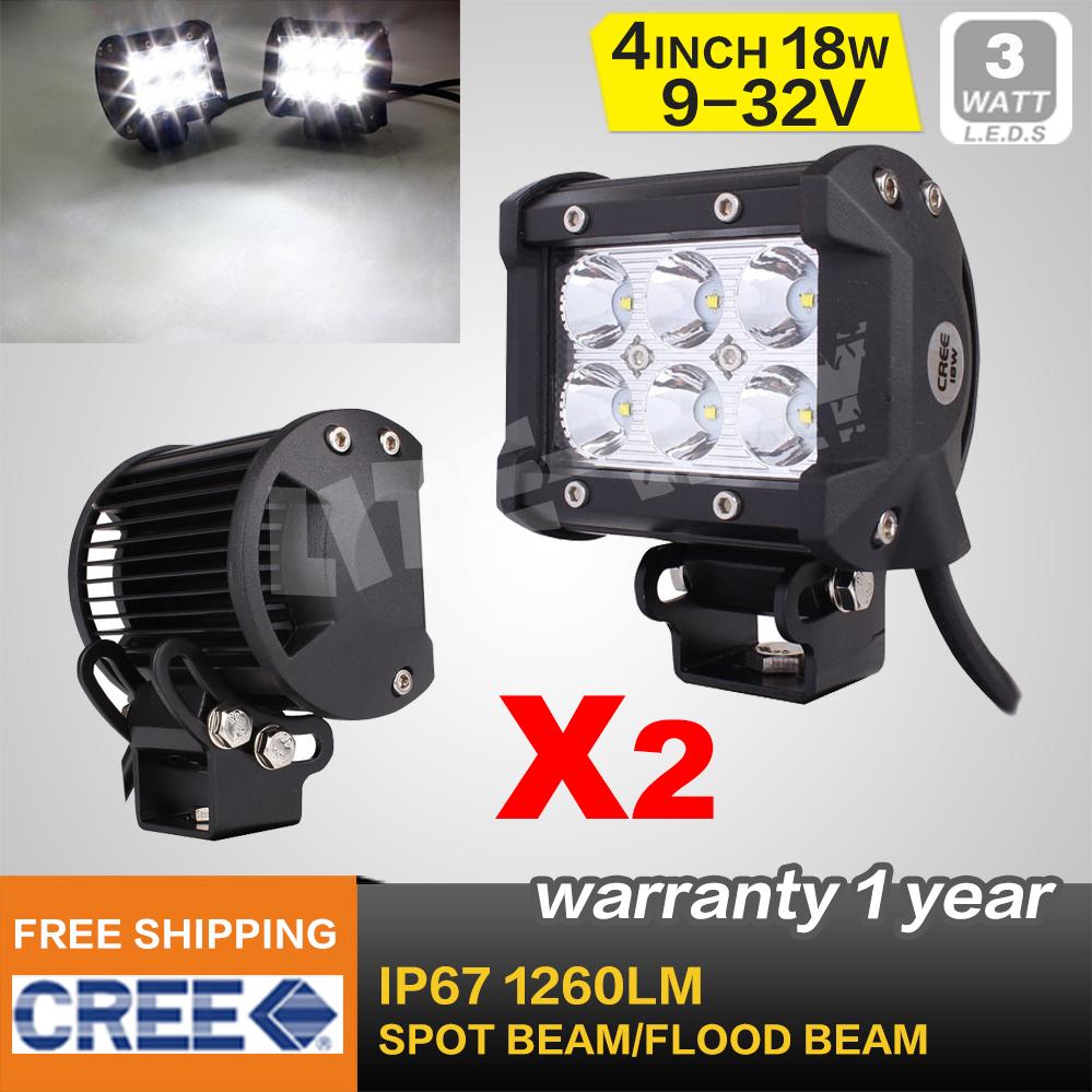 2PCS 4 INCH 18W CREE LED LIGHT BAR SPOT FLOOD FOR OFF ROAD LED BAR IP67 4WD ATV UTV SUV LED WORK LIGHT BAR(China (Mainland))