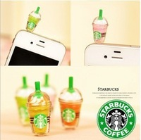 Starbucks coffee cup 3.5mm Universal Size Anti Dust dustproof Earphone Jack Plug Cap Charm for cellphone/iPad accessories