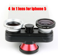 1pcs Free shipping New Arrival 4 in 1 lens degree double Fisheye Lens + Macro Wide-angle Lens optical Lens for iphone 5/5s