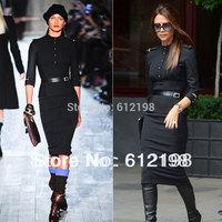 Women's Full Dresses Vintage Slim Long-sleeve Slim Wrapped Hips One-piece Dress Victoria Beckham Wear Plus SIZE XXXL Available