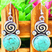 Fashion Jewelry Vintage Look Antique Silver Plated Snail Round Turquoise Dangle Earrings E003