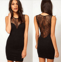 S-XL, 2014 Summer New Hot Sale Promotion Women Sexy Chic See-through Black Lace Patchwork Sleeveless Mini Girls Lace Dress