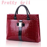 Hot selling Luxury OL Lady Women Crocodile Pattern patent Leather Handbag Tote popular leather Bag  Free Shipping pg-95