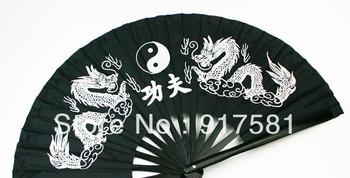 Free shipping Oriental Martial Arts Chinese Kung Fu/Tai Chi/Dance/Practice Performance Black bamboo Folding Dragon Fan