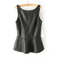 2014New Design Ladies Fashion Waistcoat With Leather