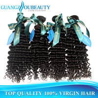 Guangzhou beauty grade aaaaa 3pcs mixed lot unprocessed virgin Peruvian deep curly human hair weave natural color free shipping