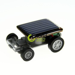 Free Shipping Lovely Mini Solar Energy Powered Child Kid Toy Car Racing Gadget Black Smallest Solar Car Racer Moving Toy Gift(China (Mainland))