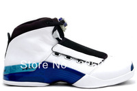 Free Shipping Famous Trainers AIR 17 Retro Men's Sports Basketball Shoes White Blue