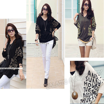 New Fashion Women's fashion V-Neck Cotton Blends Batwing Dolman Short Sleeve T-shirt Letter PrintsTop Blouses EJ650524