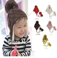Free Shipping 2014 Popular color sherpa ear children hat thickened bonnet Children acrylic hat Serratula cap