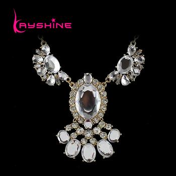 Wholesale High Quality Colgantes Mujer Fashionable Luxury Flower Designer Rhinestone Necklace Gargantilha