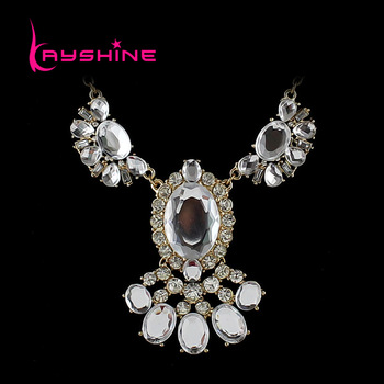 Wholesale High Quality Fashionable Luxury Flower Designer Rhinestone Necklace