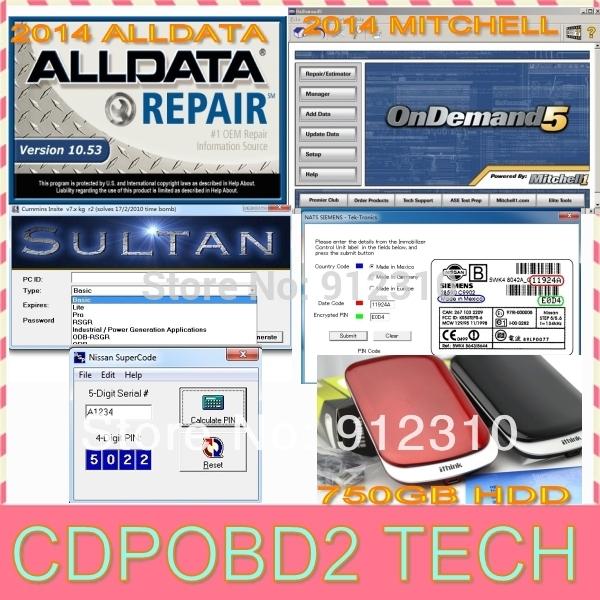 14 in1 2014 Alldata 10.53 with 575GB+2014 Mitchell on demand 125GB on 750GB usb hard disk fit 32&64bit windows system win8 win7(China (Mainland))