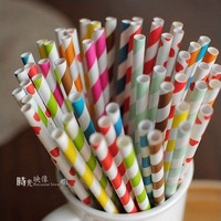 Wholesale Free shipping 1000 pcs colorful drinking paper straw strip drink paper straws ZF043